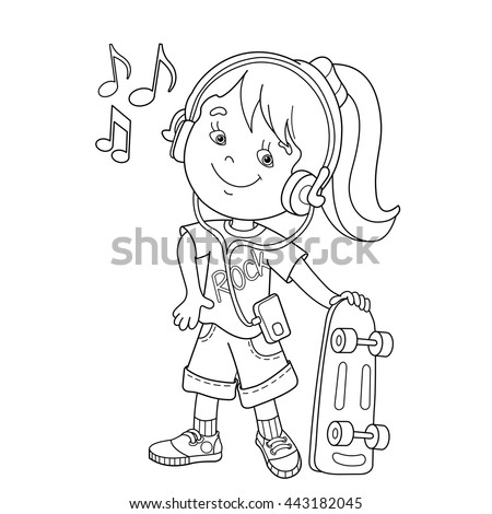 Coloring Page Outline Cartoon Boy Girl Stock Vector 424589875 ...