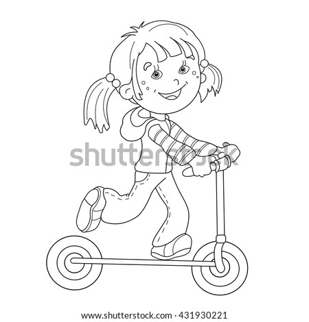 coloring page outline of cartoon girl on the scooter coloring book for kids
