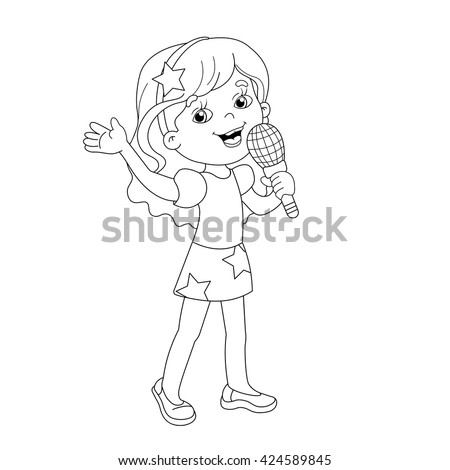 Coloring Page Outline Cartoon Girl Gift Stock Vector 424588990