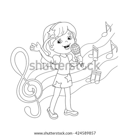 Coloring Page Outline Cartoon Girl Singing Stock Vector 424589857