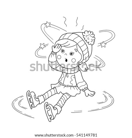 Coloring Page Outline Cartoon Girl Skating Stock Vector 541149616