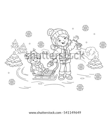 Coloring Page Outline Cartoon Boy Girl Stock Vector 541149658