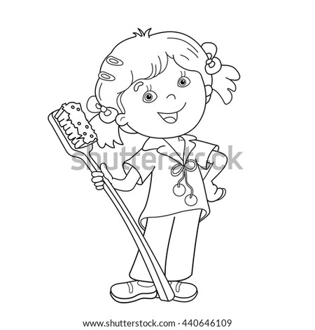Coloring Page Outline Cartoon Girl Toothbrush Stock Vector