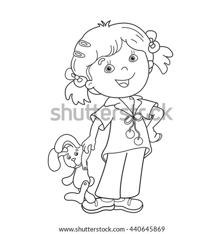 Coloring Page Outline Cartoon Girl Headphones Stock Vector