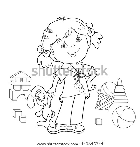 Coloring Page Outline Cartoon Girl Toys Stock Vector 440645944 ...