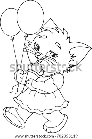 Coloring Page Outline Of Cartoon Kitten With Ice Cream And Air Balloons Vector Illustration