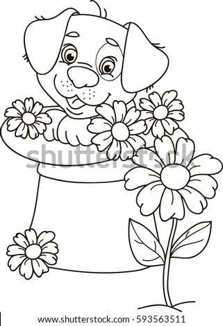 coloring page outline of cartoon puppy dog sitting in a hat with flowers vector illustration