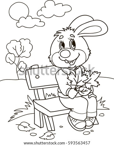 Coloring Page Outline Cartoon Rabbit On Stock Vector 593563457 A Coloring Book
