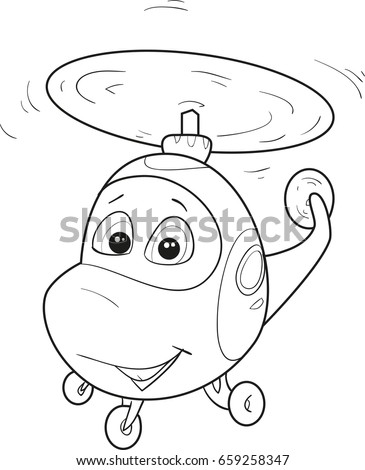 coloring page outline of cartoon smiling helicopter vector illustration coloring book for kids - Outline Cartoon Pictures