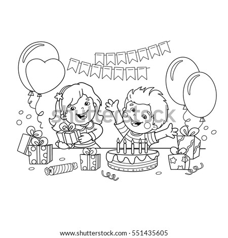 coloring page outline of children with a gifts at the holiday birthday coloring book - Coloring Pictures Of Children
