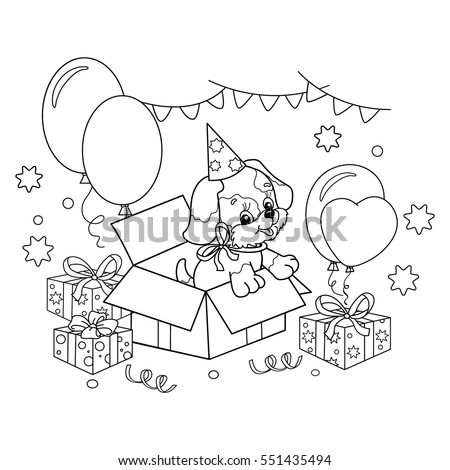 Coloring Page Outline Cute Puppy Cartoon Stock Vector 551435494 ...