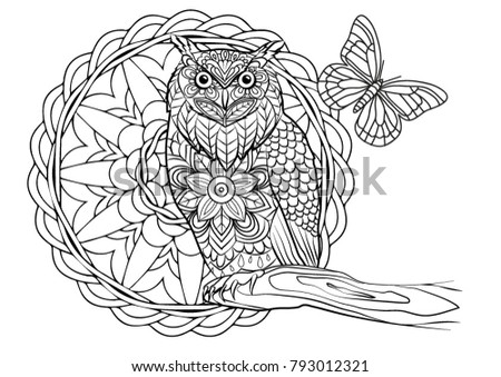 Coloring Page Owl Bird Mandala