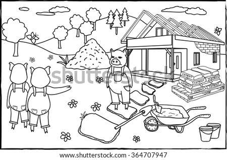 Coloring Page Three Little Pigs Stock Photo (Photo, Vector ...