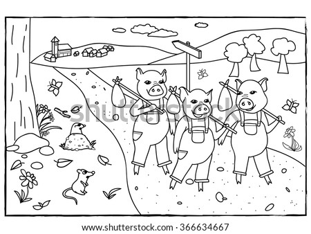 Coloring Page Three Little Pigs Stock Vector 366634667