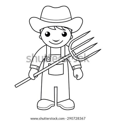 Coloring Page Vector Illustration Of A Black And White Outline Image Farmer With Pitchfork