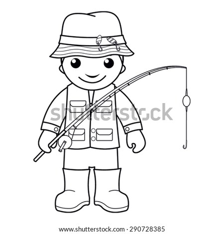 Coloring Page Vector Illustration Of A Black And White Outline Image Fisherman With