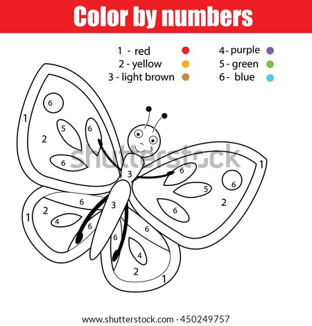 Coloring Page Butterfly Color By Numbers Stock Vector 450249757 ...