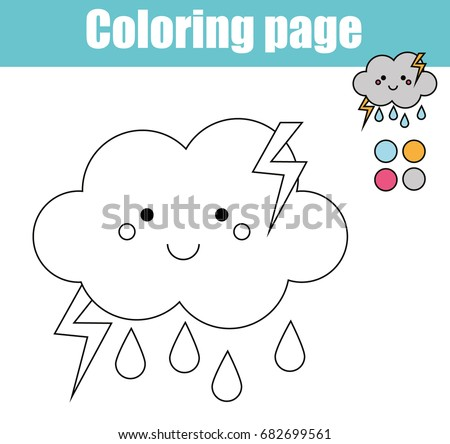 Coloring Page Cute Cloud Character Color Stock Vector 682699561