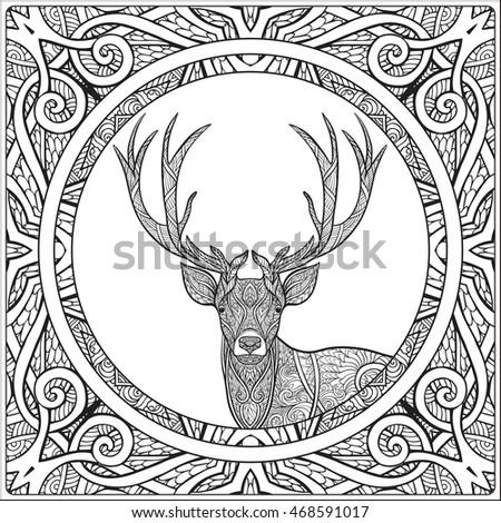 Coloring Page Deer Decorative Mandala Frame Stock Vector 468591017
