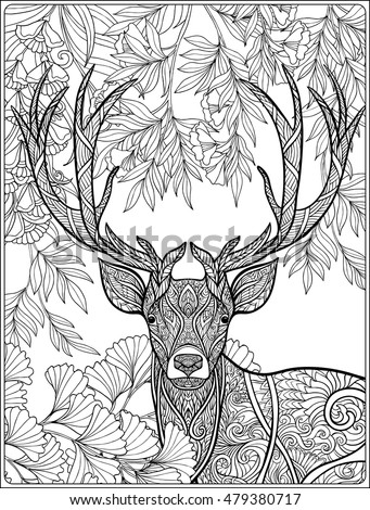 Coloring Page Deer Forest Coloring Book Stock Vector 479380717 ...