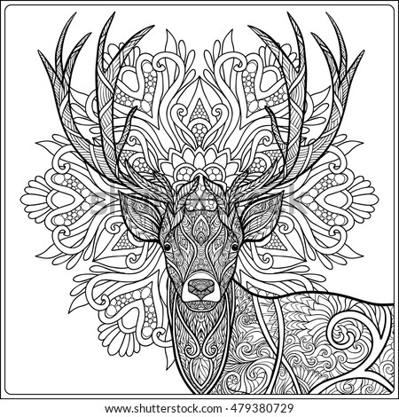 Head deer on new years balls stock vector 524870242 for Deer coloring pages for adults