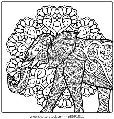 coloring page elephant decorative mandala frame stock vector ... - Coloring Page Elephant Design