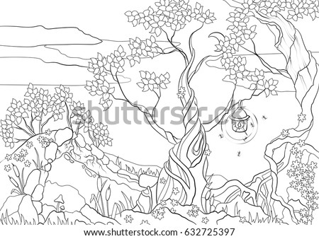 Coloring Page With Fantastic Trees And Cave Black White Illustration