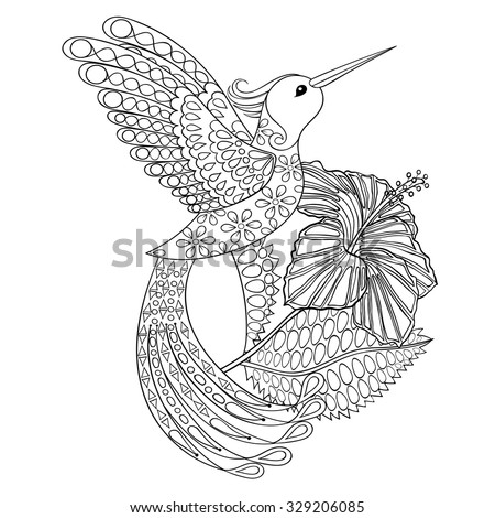 Coloring page with Hummingbird with hibiskus, zentangle illustartion for adult Coloring books or tattoos with high details isolated on white background. Vector monochrome sketch. - stock vector