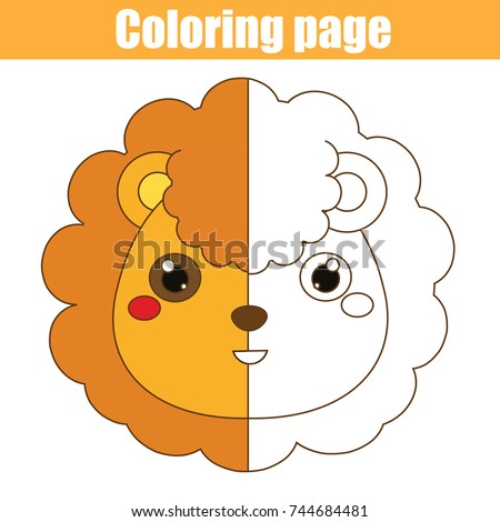 Coloring Page With Lion Color The Picture Educational Children Game Drawing Kids Activity