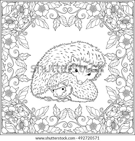 Coloring Page Lovely Mother Hedgehog Her Stock Vector (Royalty Free ...