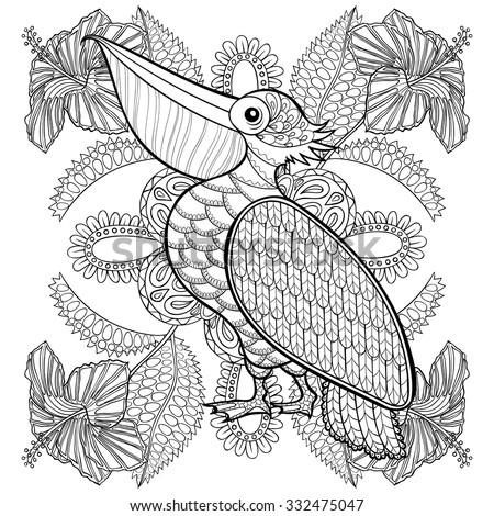Coloring Page Pelican Hibiskus Flowers Zentangle Stock Vector