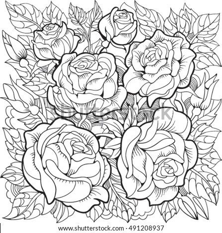 coloring page with roses and leaves