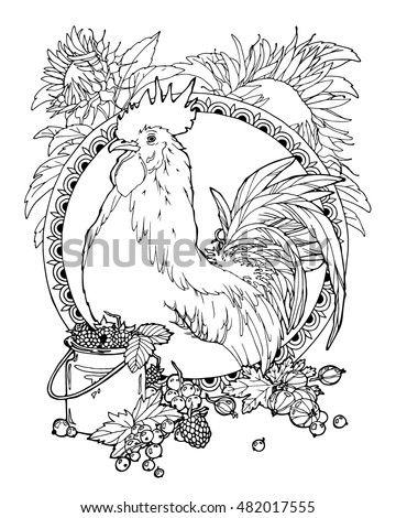 coloring page with symbol of 2017 year; rooster with berries
