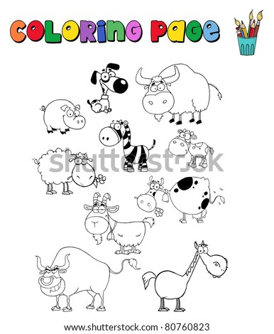 Coloring Page With Various Animals. Vector illustration - stock vector