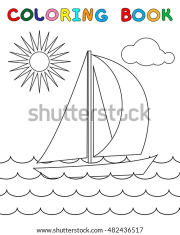 Coloring Page Yacht Sea Waves Sun Stock Vector 482436517 ...