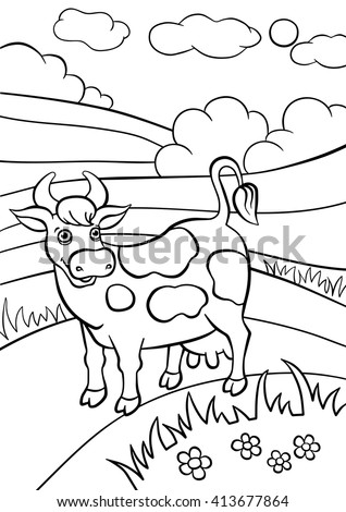 Coloring Pages. Animals. Cute Cow Stands In The Field And Smiles.
