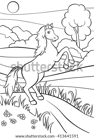 Coloring Pictures Of Horses Jumping. Coloring pages  Animals Cute horse jumps and smiles Pages Horse Jumps Stock Vector 413641591