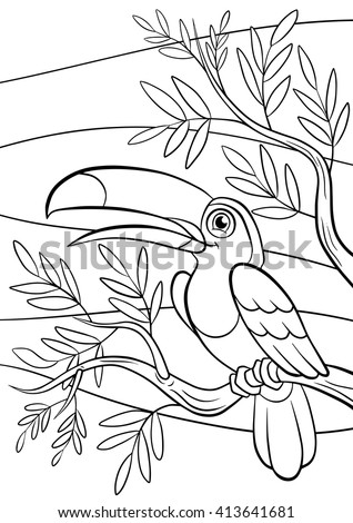 Coloring pages. Birds. Little cute toucan sits on the tree branch and smiles. - stock vector