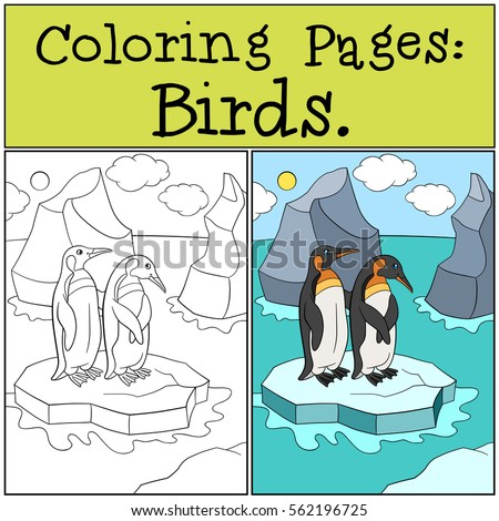 Coloring Pages Birds Two Little Cute Penguins Stand On The Ice Floe In