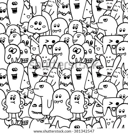 Coloring Pages Coloring Book Monsters Doodle Vector Stock