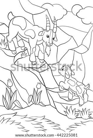 Coloring Pages Farm Animals Father Goat Looks At His Goatling And Smiles