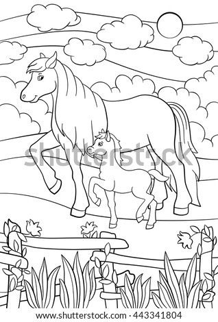 coloring pages farm animals mother horse walks with her little cute foal on the - Coloring Pages Horses Foals