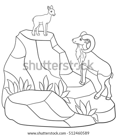 Coloring Pages Father And Baby Urial Stand On The Mountains Smile