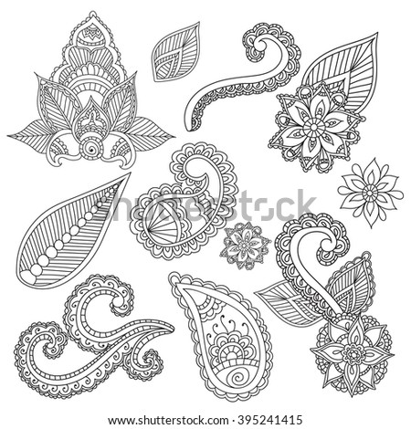 Coloring pages for adults. Cet fo Henna Mehndi Doodles Abstract Floral Paisley Design Elements, Mandala,Vector Illustration. Coloring book. Coloring pages for adults. - stock vector