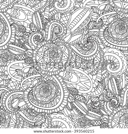 Coloring pages for adults. Coloring book.Decorative hand drawn doodle nature ornamental curl vector sketchy seamless pattern
