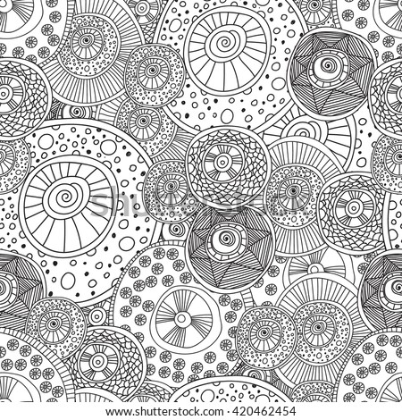Coloring pages adults coloring bookseamless black stock for Circle pattern coloring pages