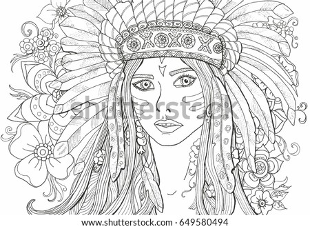 Coloring Pages Adults Girl Indian Decoration Stock Vector HD