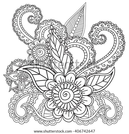 coloring pages for adults henna mehndi doodles zentangle abstract floral paisley design elements