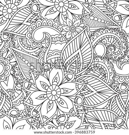 Coloring pages for adults.Seamless pattern.Henna Mehendi Doodles Abstract Floral Design Elements,Mandala,Vector Illustration.Coloring book.Coloring pages for adults. - stock vector