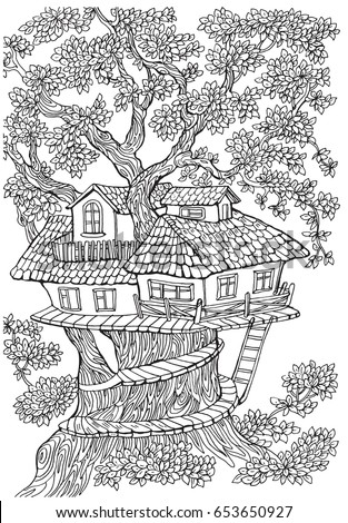 Coloring pages kids adults tree house stock vector 653650927 shutterstock